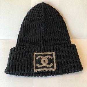 Authentic CHANEL Black Beanie Hat